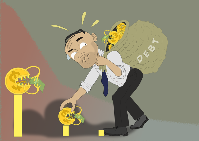 Man carrying back of Debt